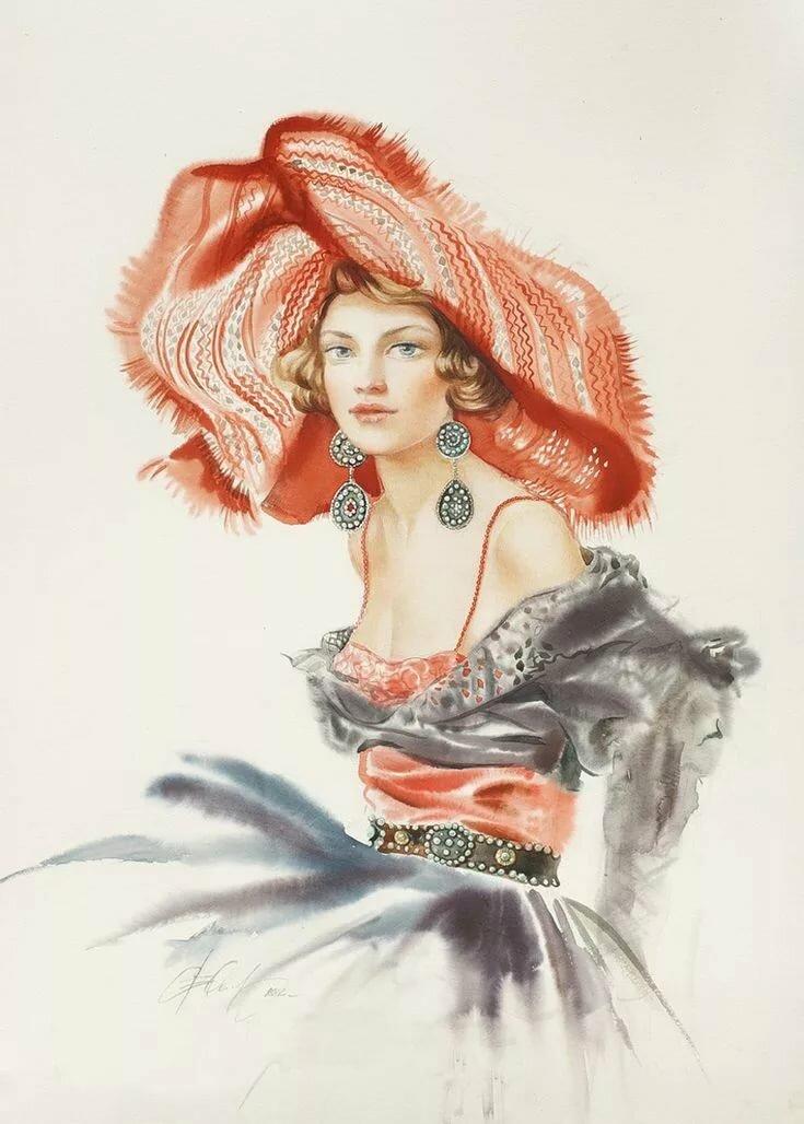Девушка и перо открытка