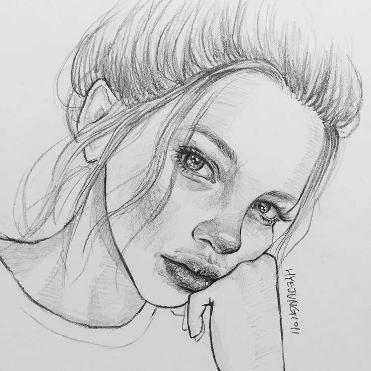 Рисунки девушек карандашом для начинающих картинки