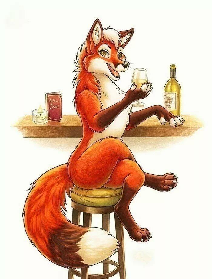 Картинка лиса пьяная