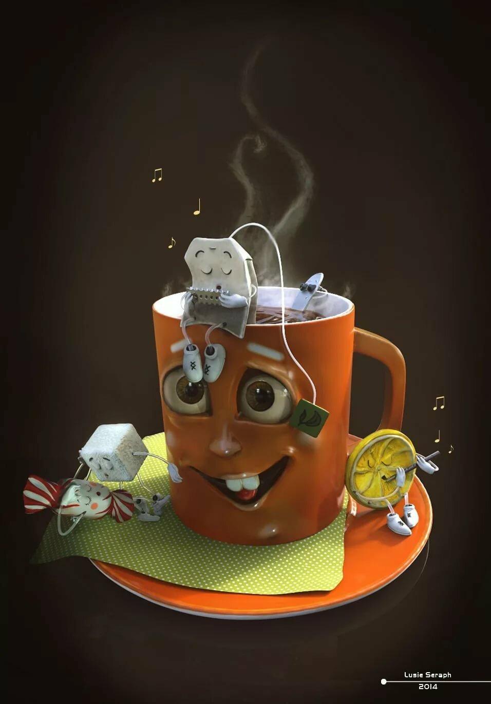 один такой прикольные картинки про чай и кофе маленькая средняя