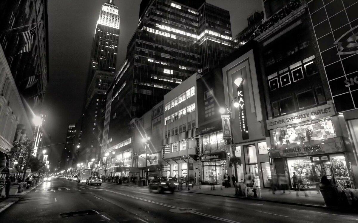Фото ночной город черно белые большого разрешения