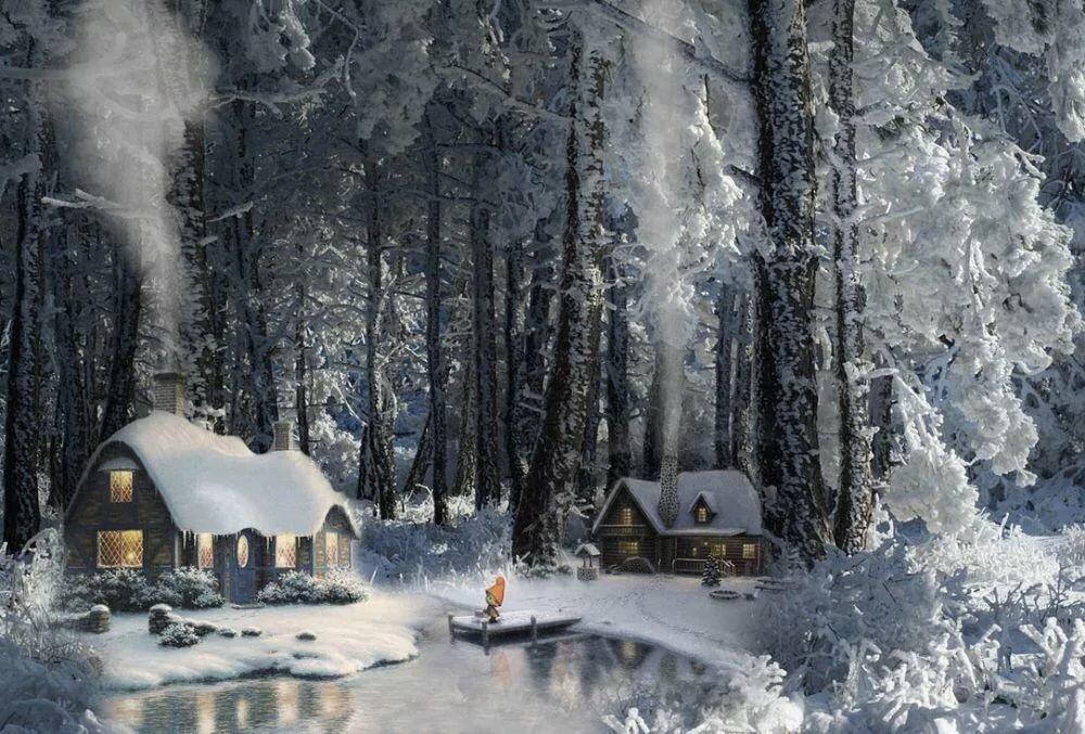 декори анимационная картинка домик лесника в зимний период состоит трёх