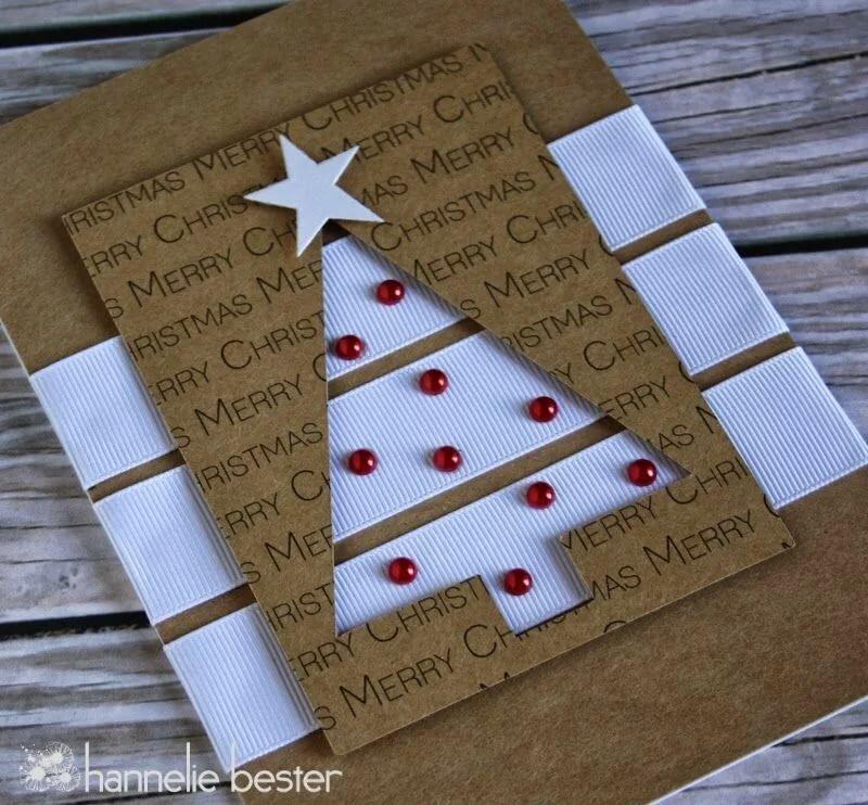 Днем рождения, елка из ленты на открытку