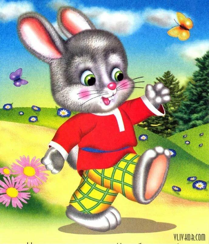 Картинка зайчика из сказки теремок для детей