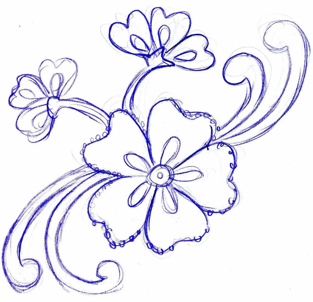 Картинки цветов срисовка