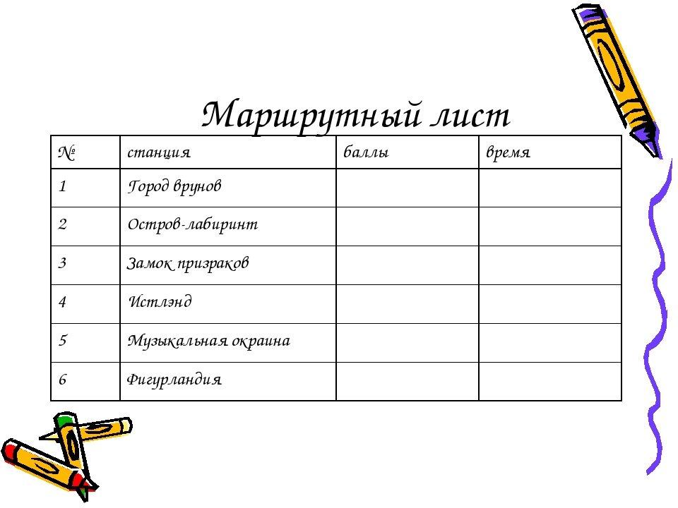 маршрутный лист для игры по станциям картинка испытать