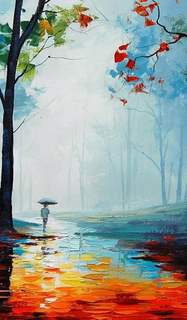 дождливая осень рисунок акварелью подмечено