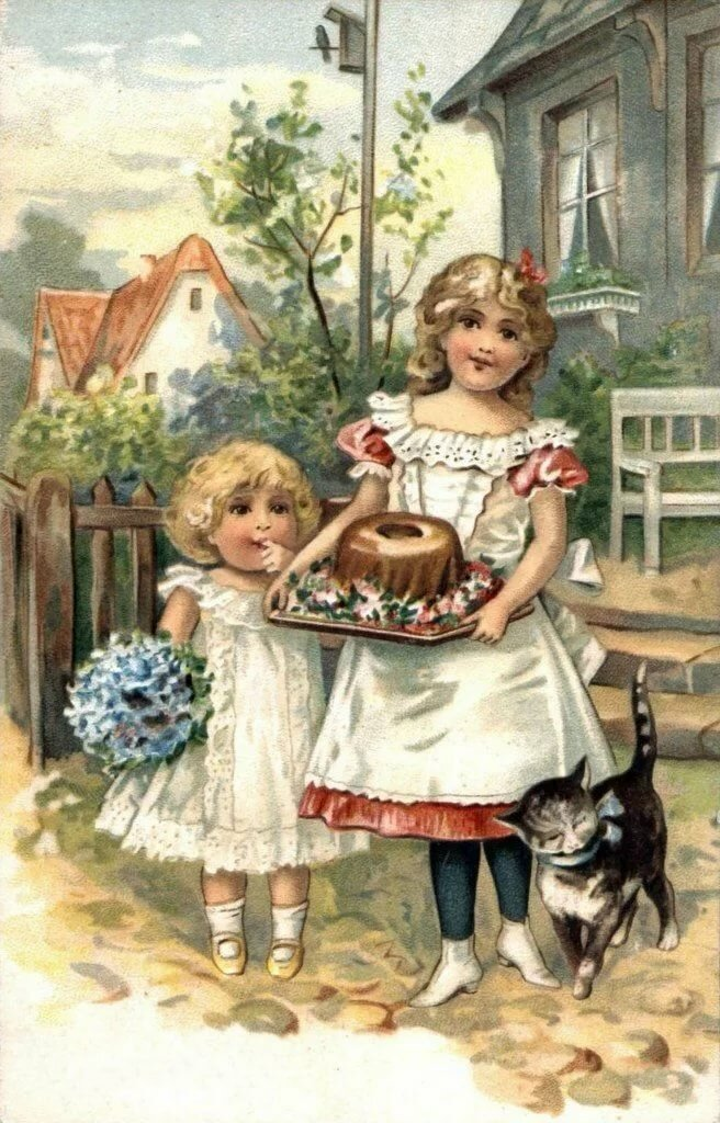 Картинки для декупажа дети и животные винтаж