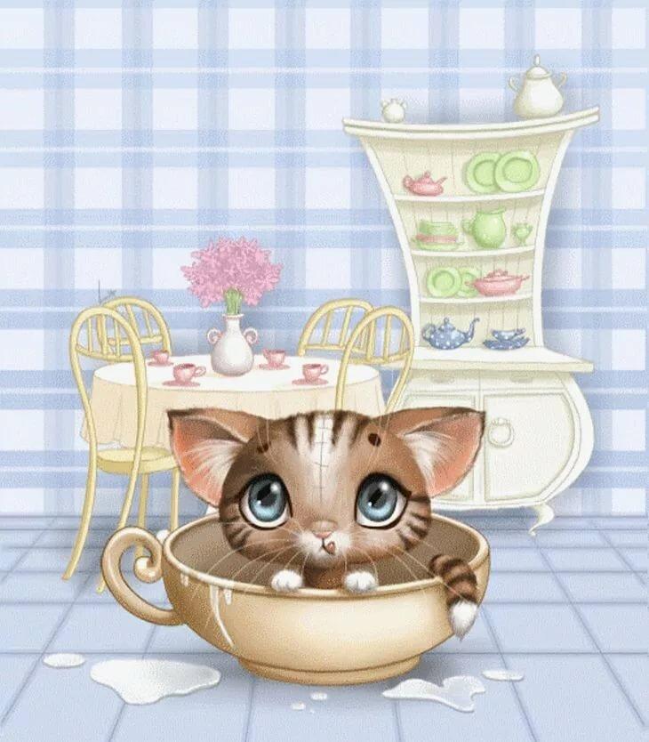 картинки мультяшные котята в кружке мягкая, плотная
