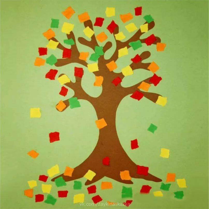 Осенние деревья из цветной бумаги аппликация