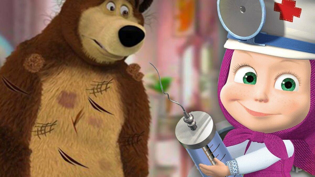Картинка маша и медведь врач