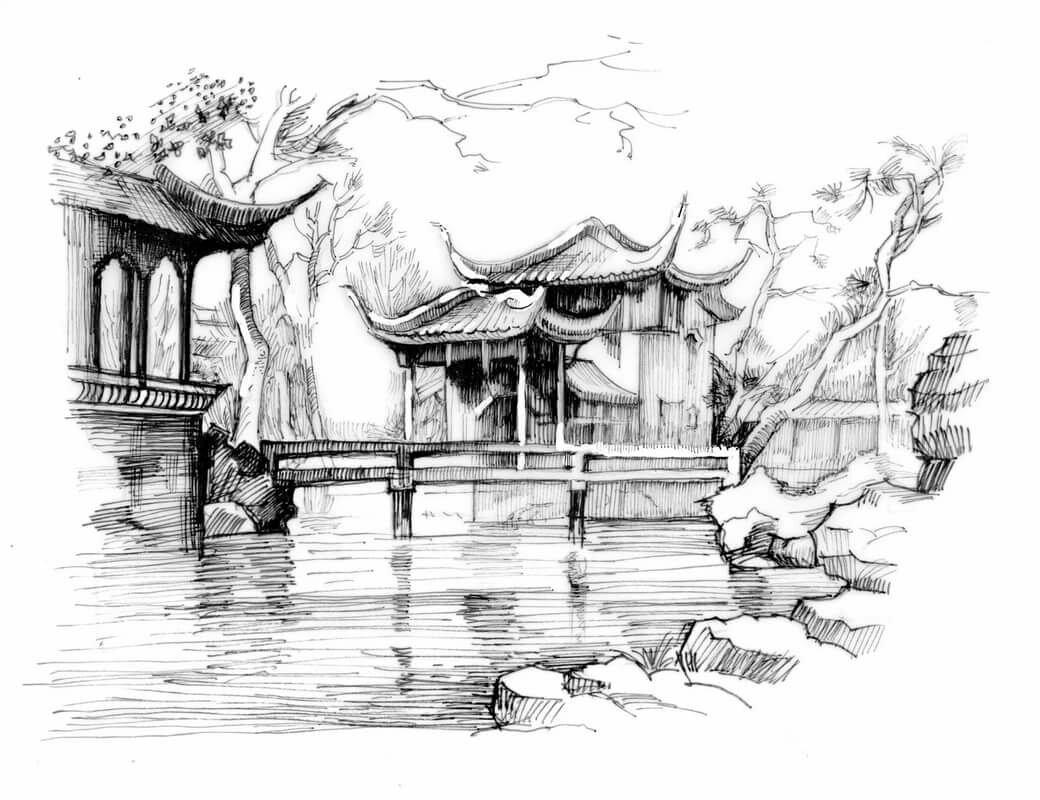 Китайские картинки красивые нарисованные карандашом
