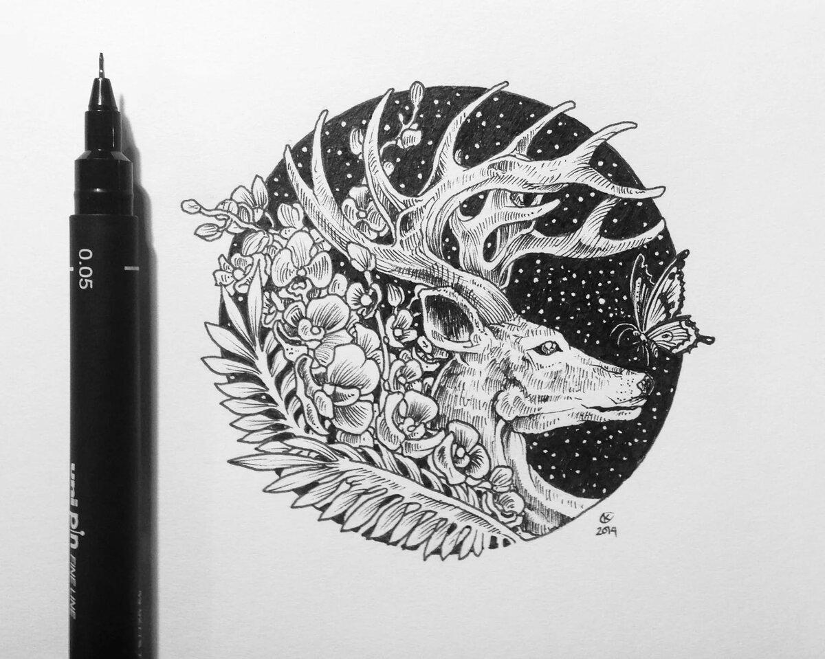 Крутые картинки черной гелевой ручкой, моя нежность