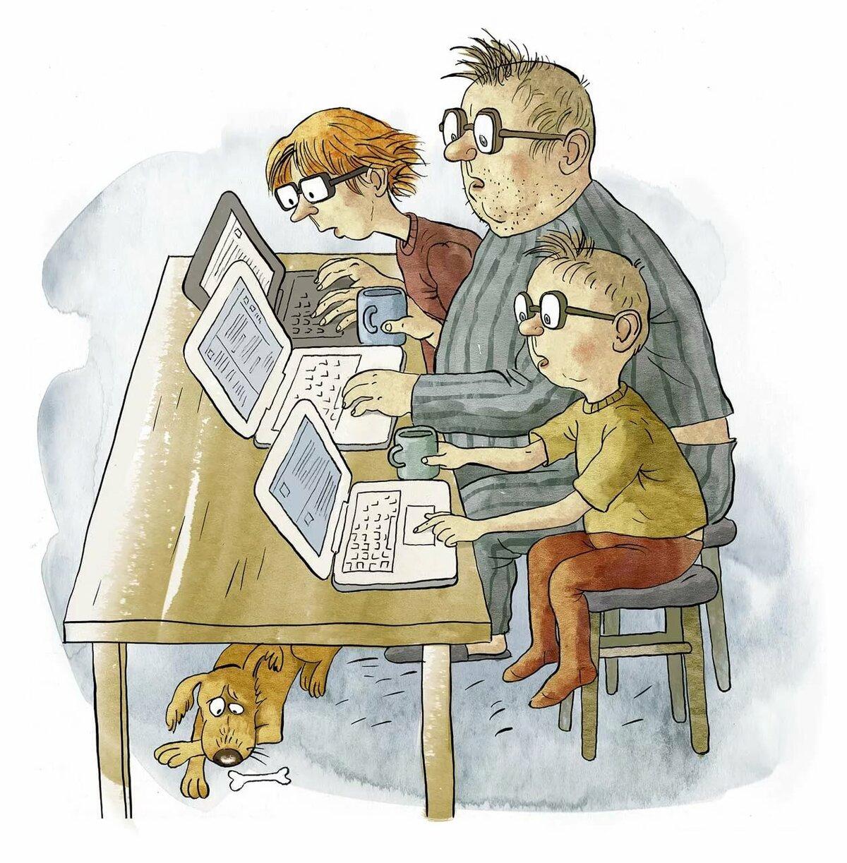Золотые, смешные картинки о семье рисованные