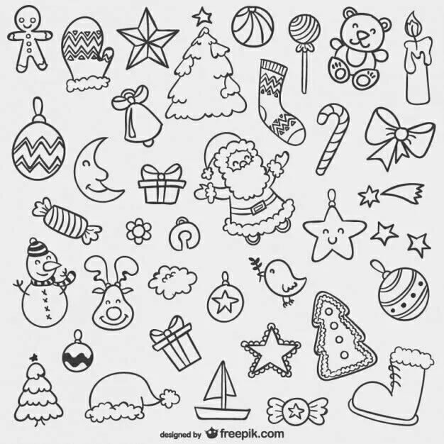 милые черно-белые картинки для распечатки новогодние