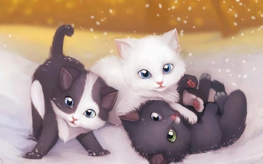 Открытки, картинки милые коты воители