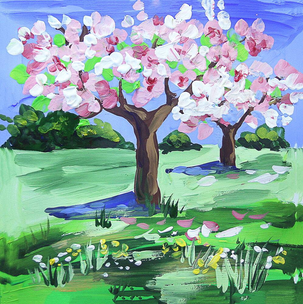 природа весной рисунки