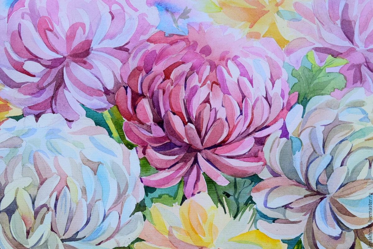 Женатому мужчине, хризантемы рисунок акварелью поэтапно