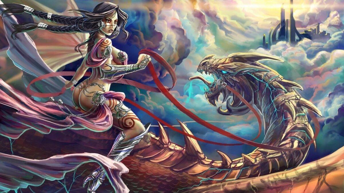 Картинки девушка летит на драконе