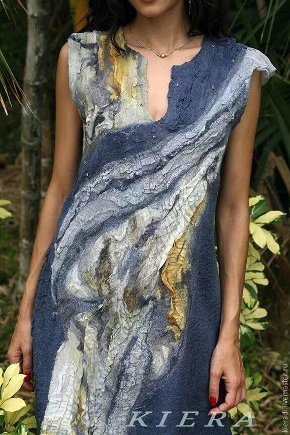 d12cb5c4d3b ... ГОЛУБКА шелковое валяное платье - купить в интернет-магазине на Ярмарке  Мастеров с доставкой -