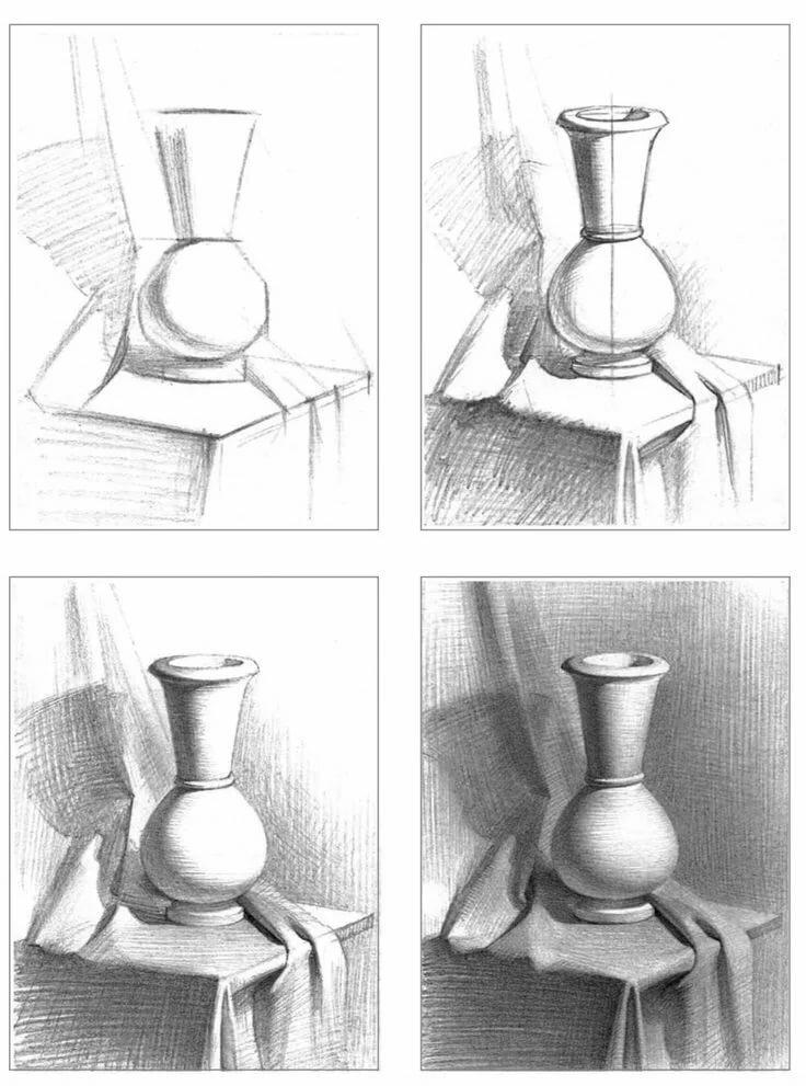 Картинки поэтапно карандашом натюрморт