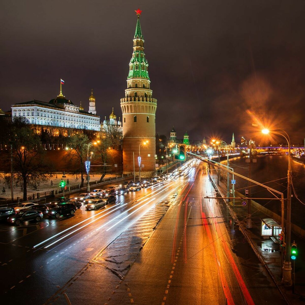 Картинки города ночью москва