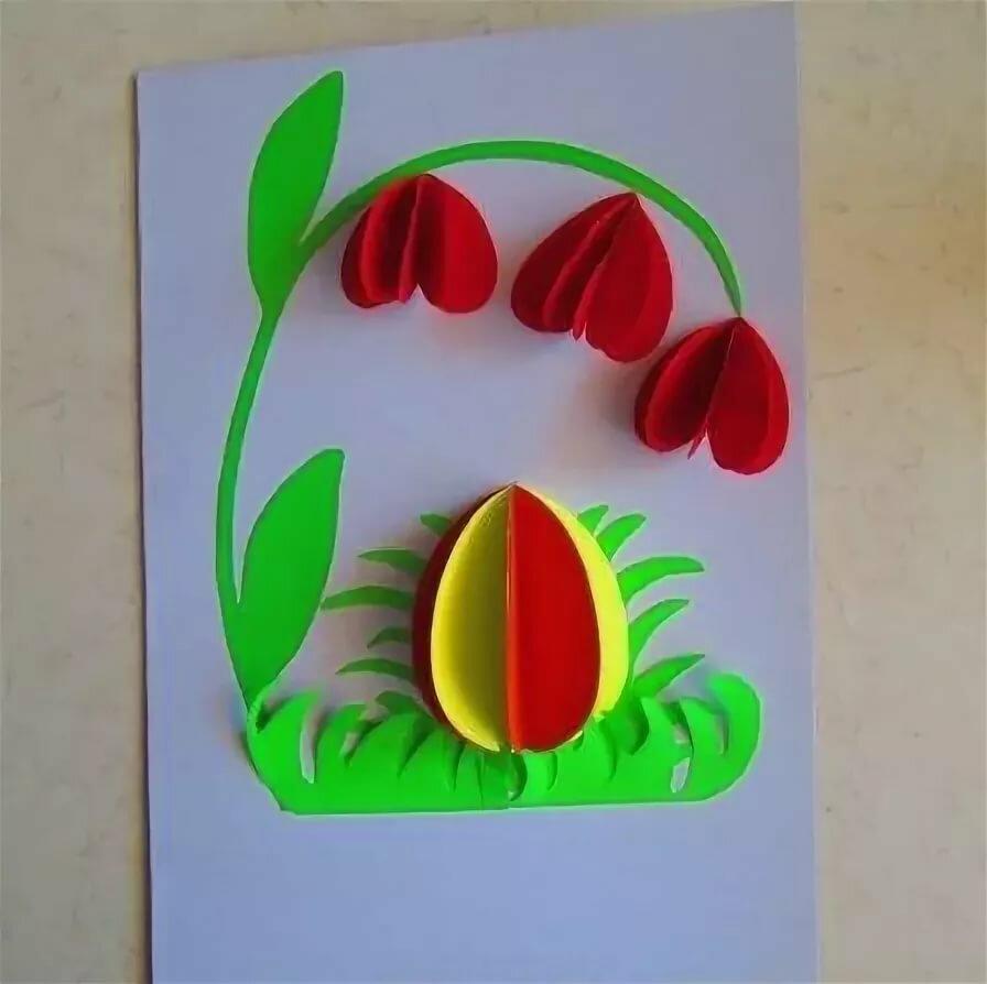 Открытки из цветной бумаги на пасху