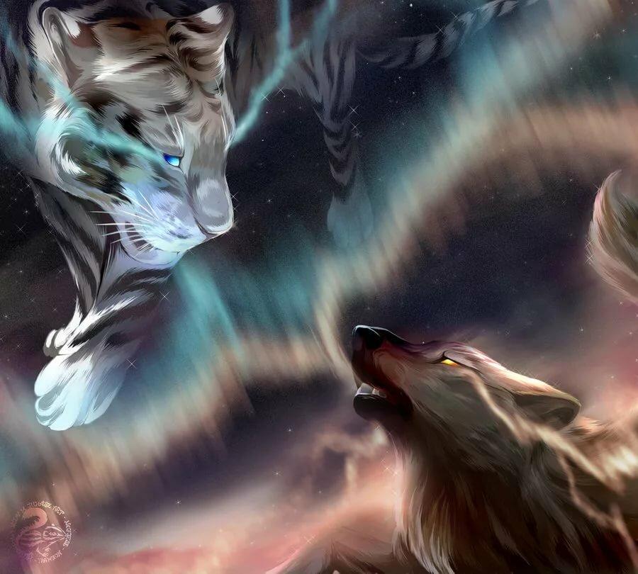 производится форме картинки волков и тигров фэнтези рассвет