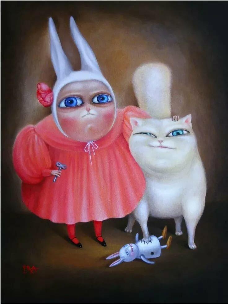 Открытка котом кроликом, открытки