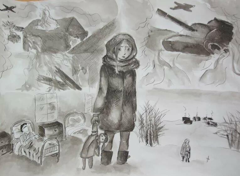 Картинки дети войны карандашом