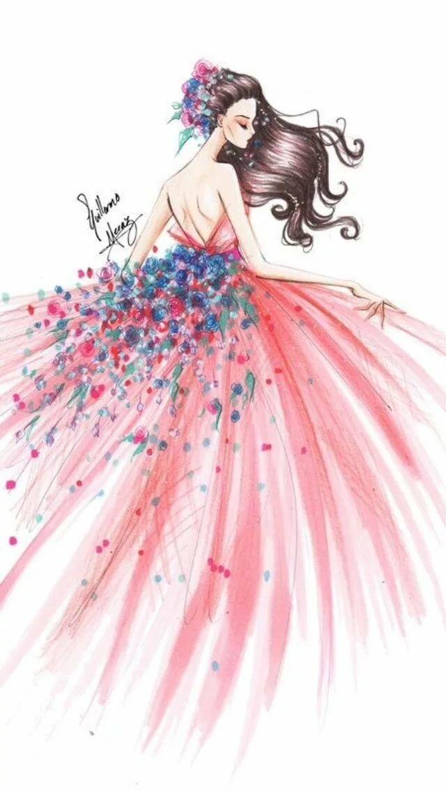 Нарисованная девочка в платье картинки