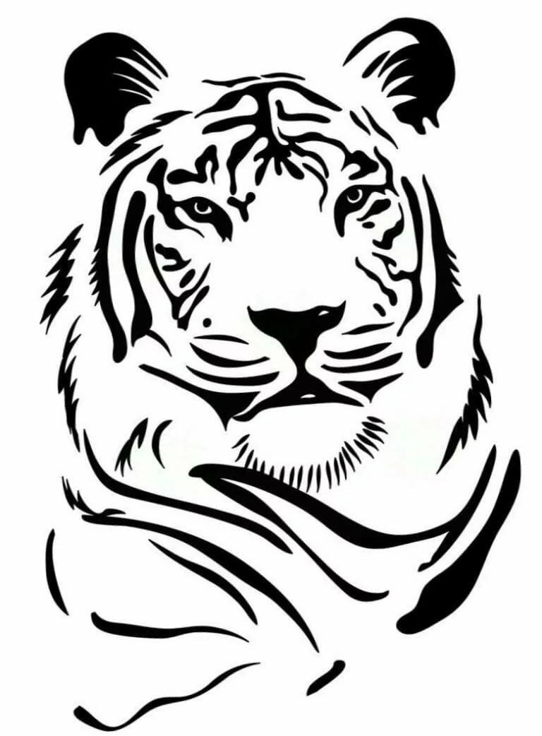 Картинки для трафарета тигр