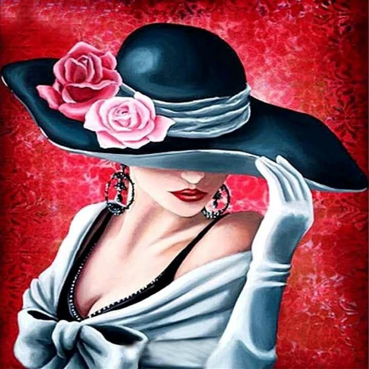 Открытки дамы в шляпах