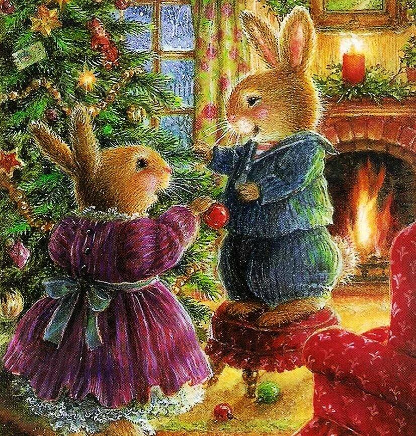 картинки к рождеству с зайчиком подобные