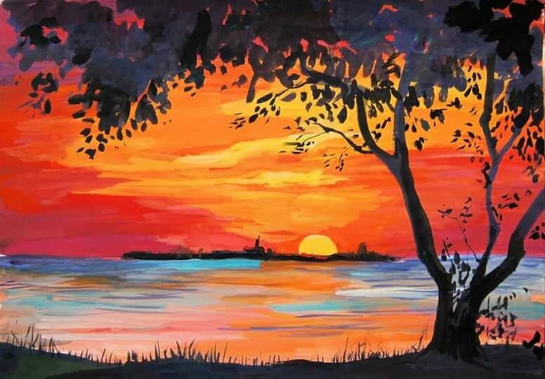 Поэтапное рисование красками картинки