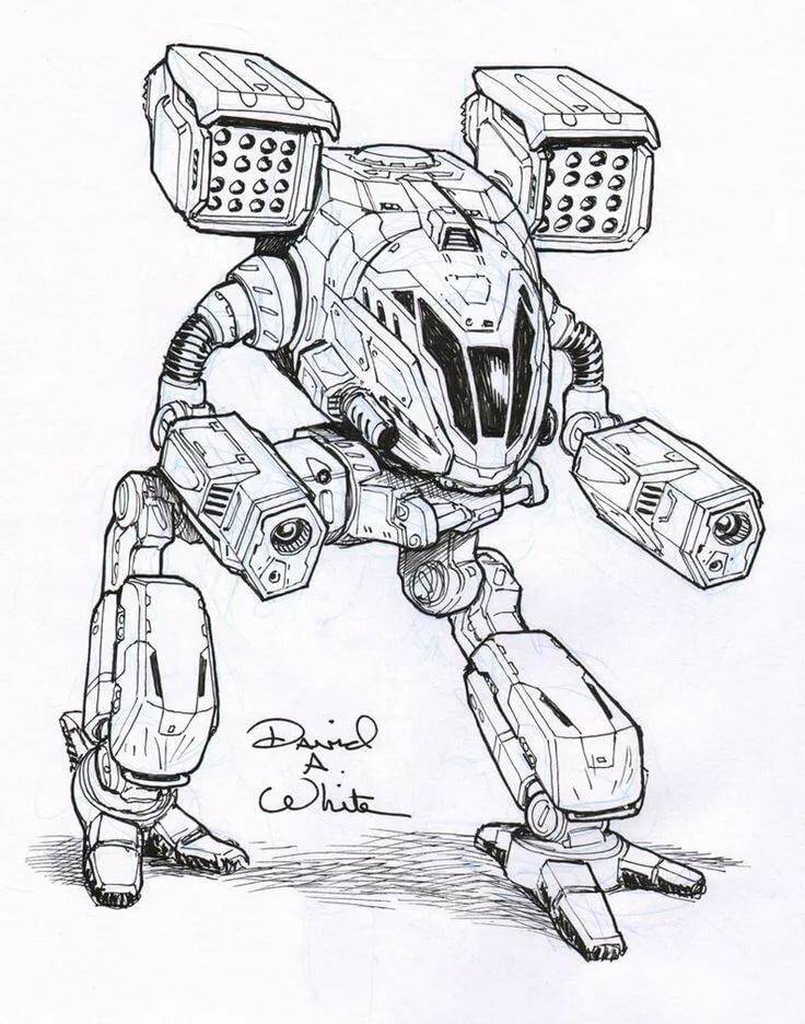 картинки с роботами срисовать