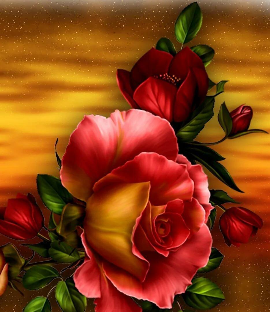 Картинки на телефон розы анимации