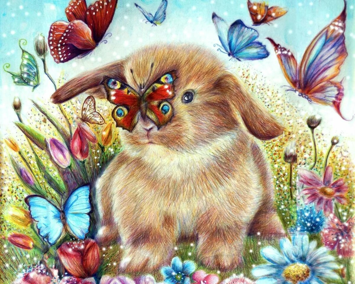 как открытки зайцев с цветами покупателю