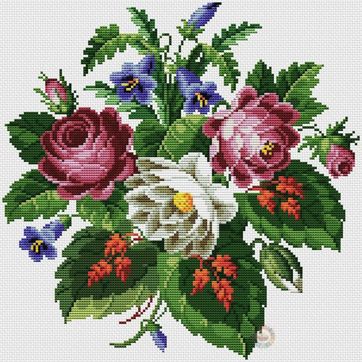 Красивая вышивка цветком картинками