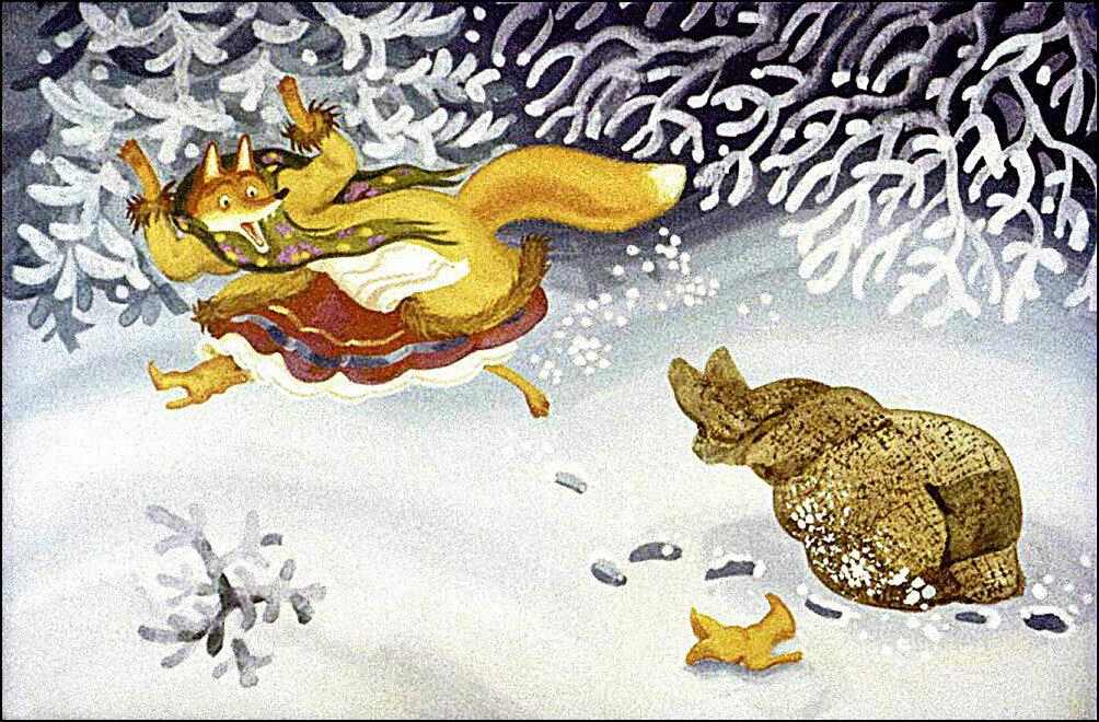 Картинка для детей лисичка со скалочкой