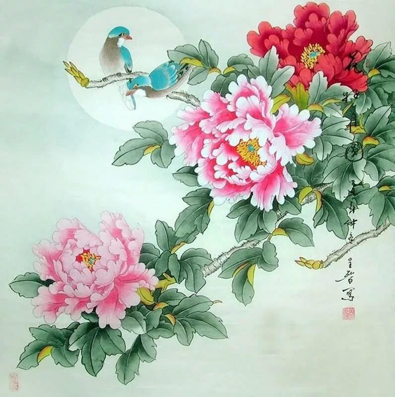 Китайские картинки цветы, для