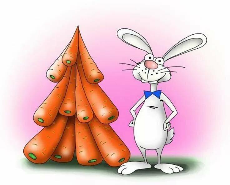 Для поздравления, открытки с зайцем с морковкой
