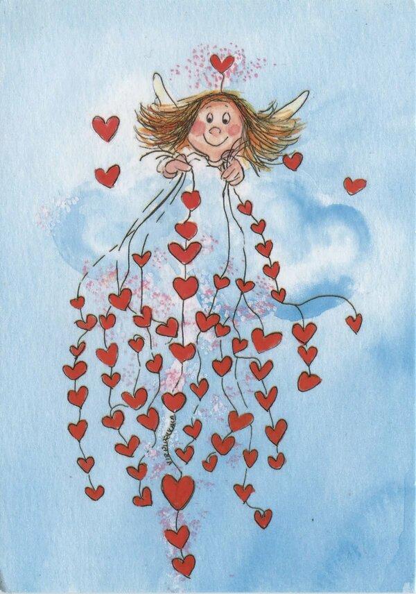 Открытка девочка с сердечком