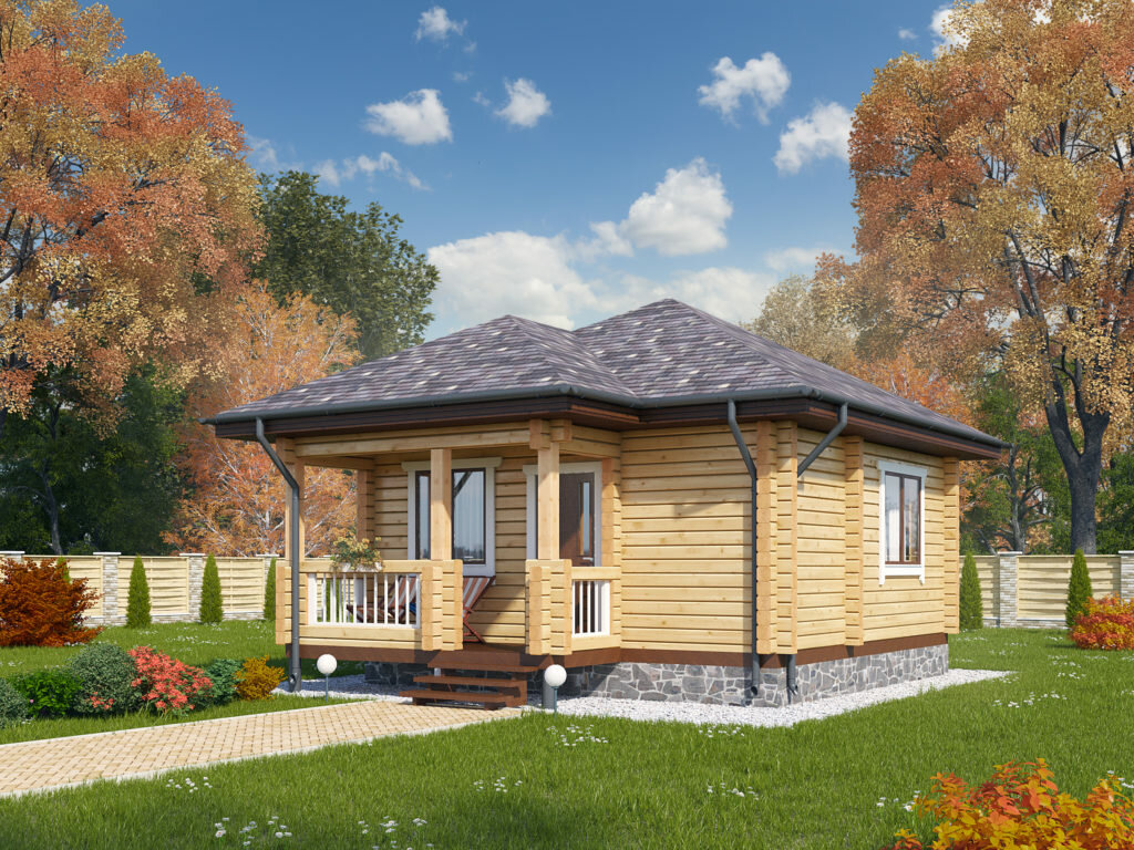 Деревянный дом одноэтажный картинки