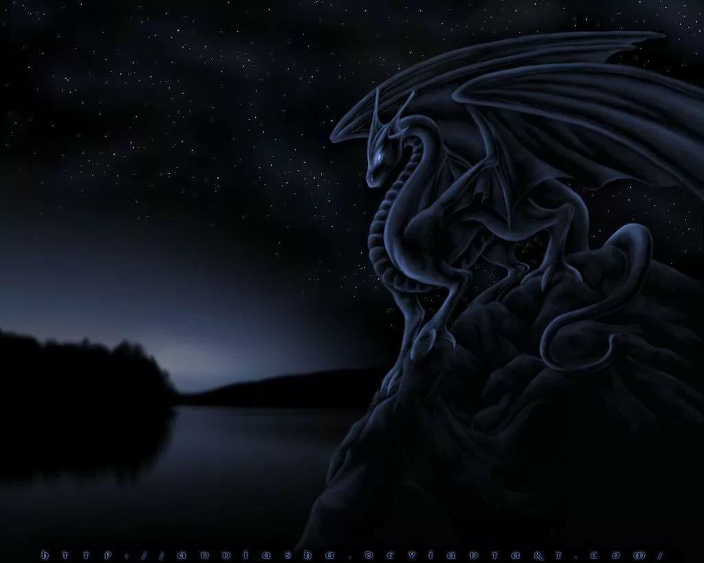 Открытка с черным драконом, для работников сельского