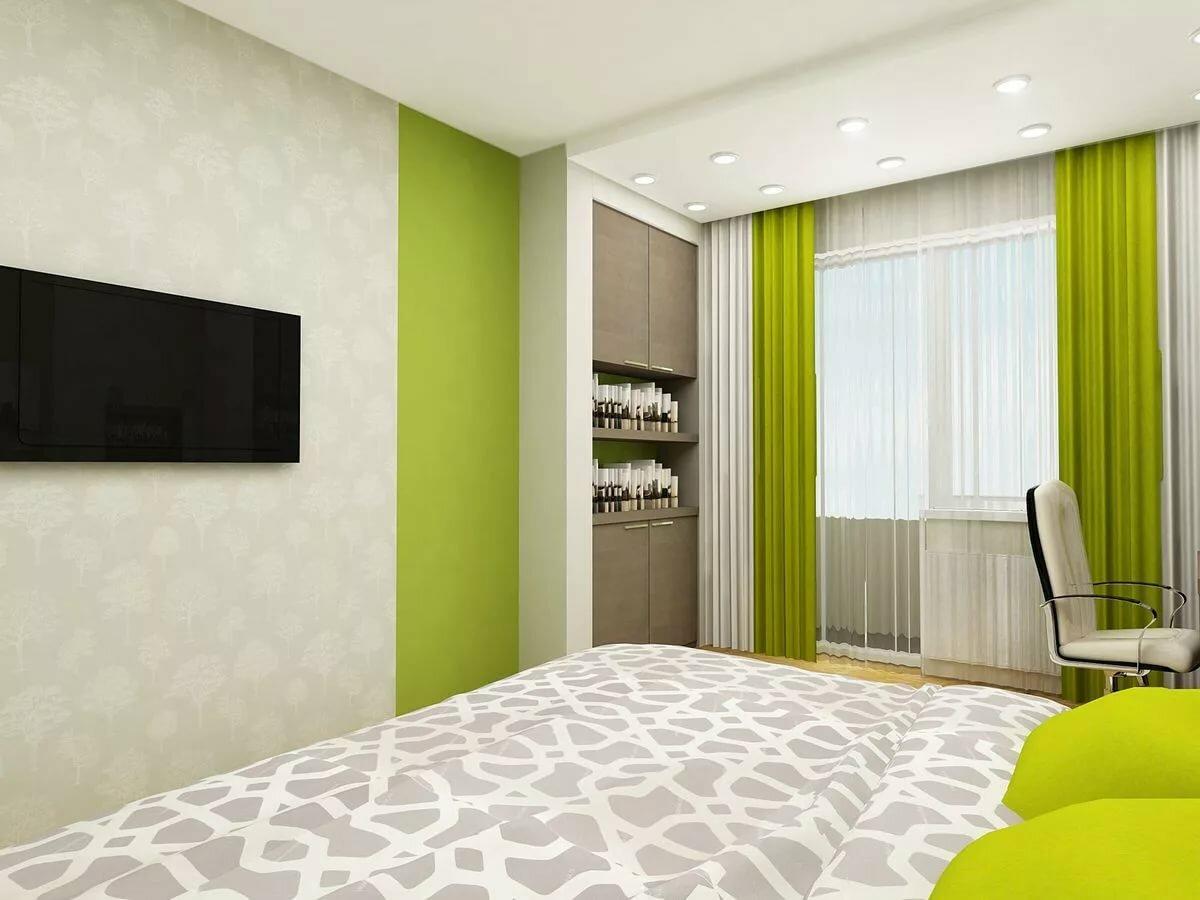 дизайн спальни в зеленых коричнево белых тонах фото тех