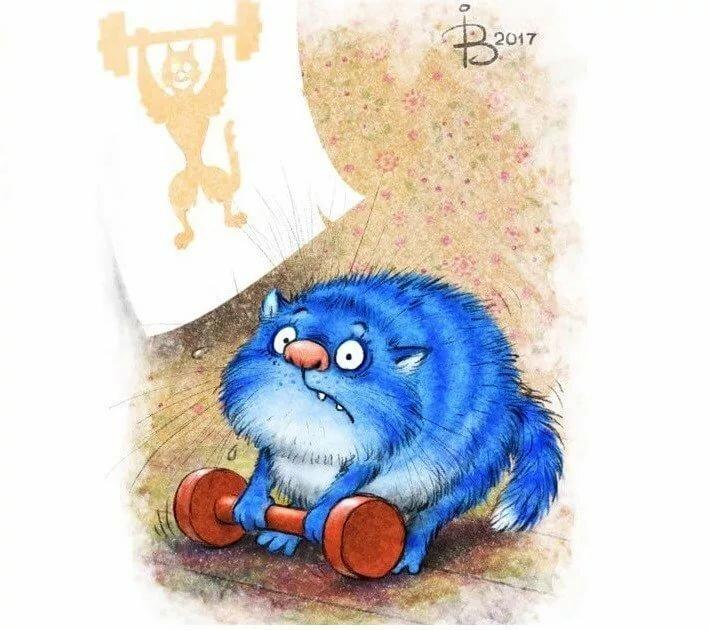 Открытка с днем рождения синие коты, открытки для