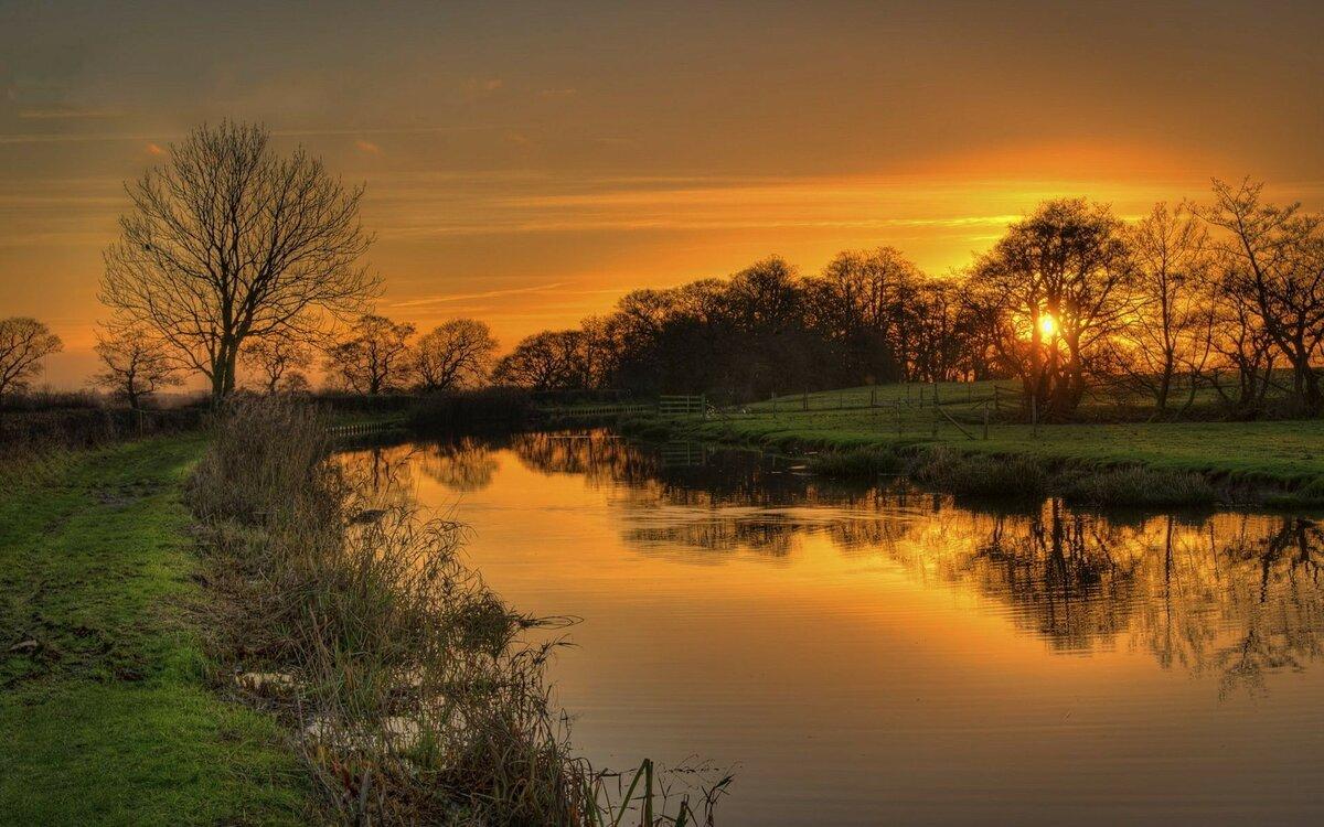 закат тропинка речка картинки фотоснимок
