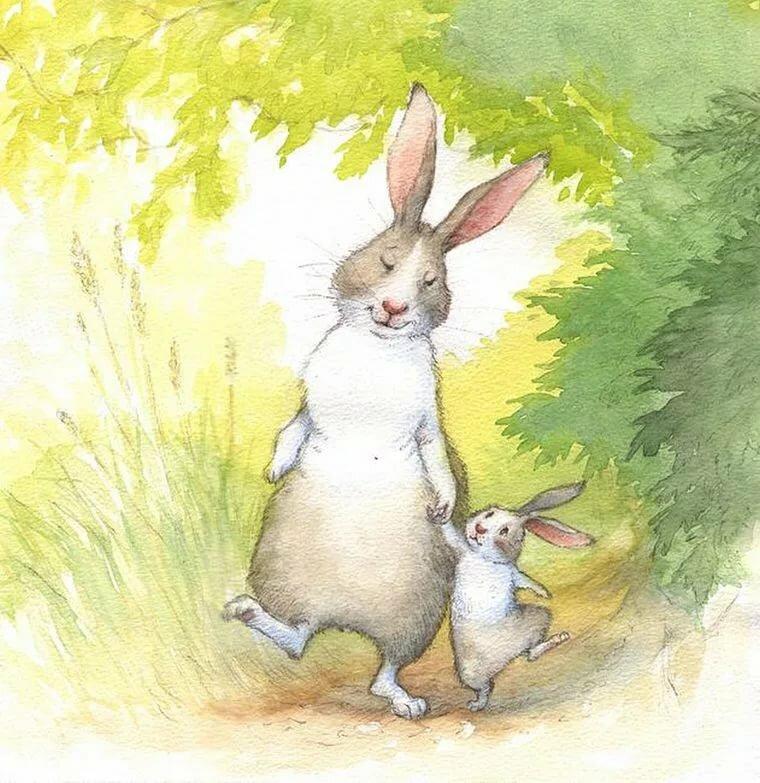 Рисунок зайчата и зайчиха