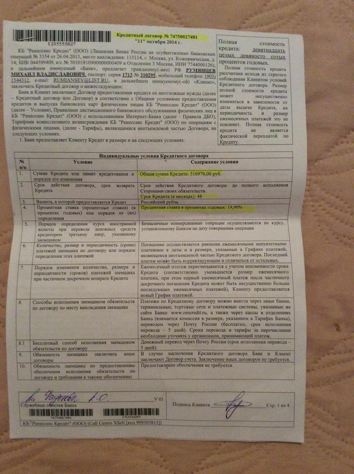 кредитный договор банка москвы